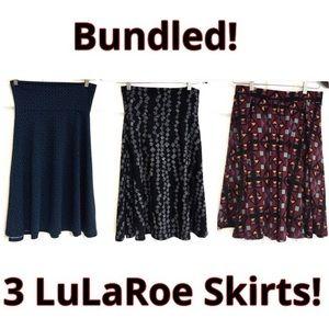 Bundled 3 LuLaRoe Skirts Azure Madison Small NWOT